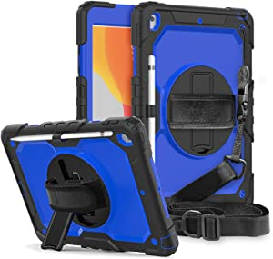 New iPad 7th 8th Gen 10.2 2020 Case, FANSONG iPad 7 8 Rugged Case with Screen Protector Full Body Protective Stylus Pen Slot 360 Rotating Kickstand & Hand/Shoulder Strap Cover for iPad 10.2 Inch 2019
