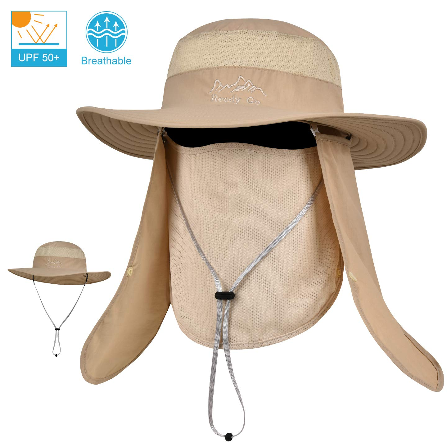 LCZTN Outdoor Sun Cap for Men & Women Breathable Wide Brim Fishing Hat UPF 50+ UV Protection with Removable Face & Neck Flap for Backpacking Hiking Travel Camping Gardening & Boating