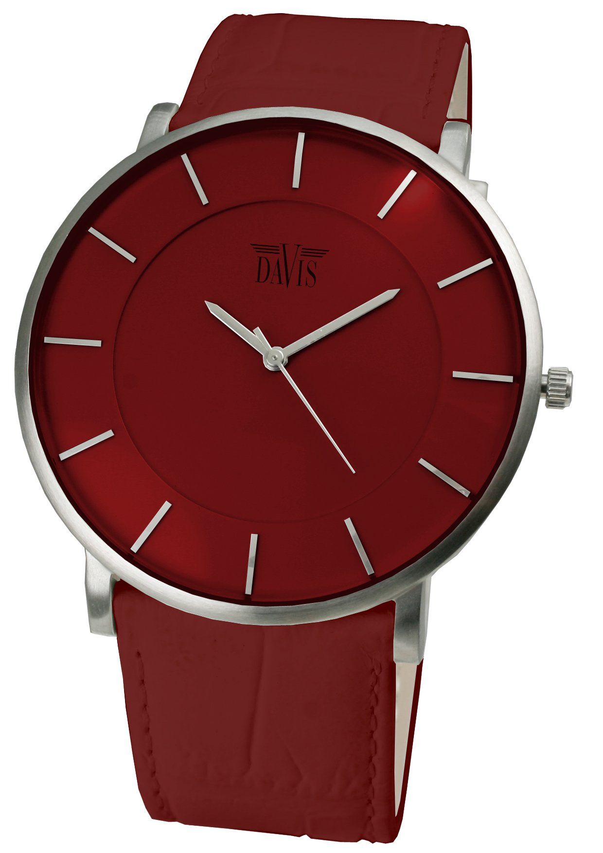 Davis 0912 - Mens Womens Design Ultra Thin Watch Red Dial Red leather Strap