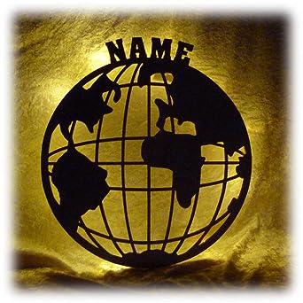 Schlummerlicht24 Led Deko Globus beleuchtet Lampe mit Name für ...