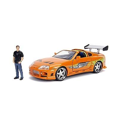 "JADA Toys Fast & Furious Brian & Toyota Supra, 1: 24 Scale Orange Die-Cast Car with 2.75"" Die-Cast Figure: Toys & Games"
