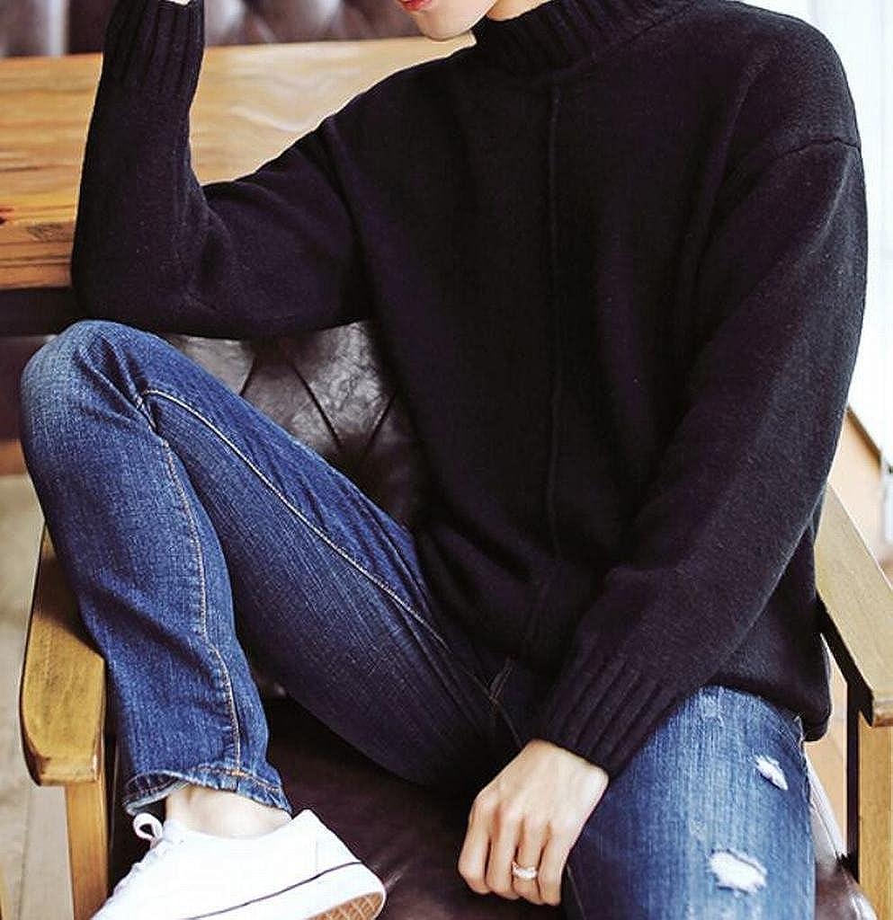 YYG Men Thicken Winter High Collar Warm Knitted Regular Fit Pullover Sweater
