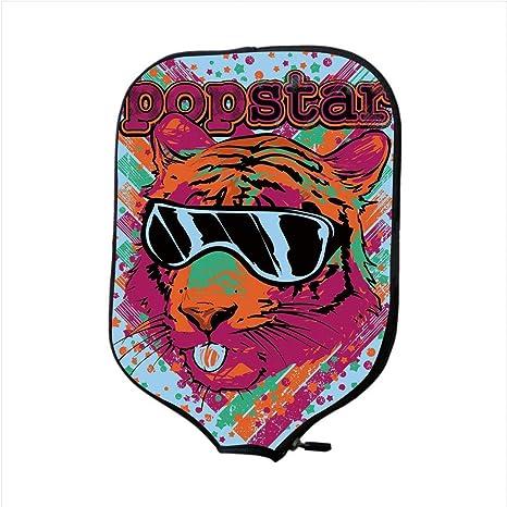 Neoprene Premium Pickleball Paddle Racket Cover Case,Popstar Party,Popstar Poster Design Artistic Lion