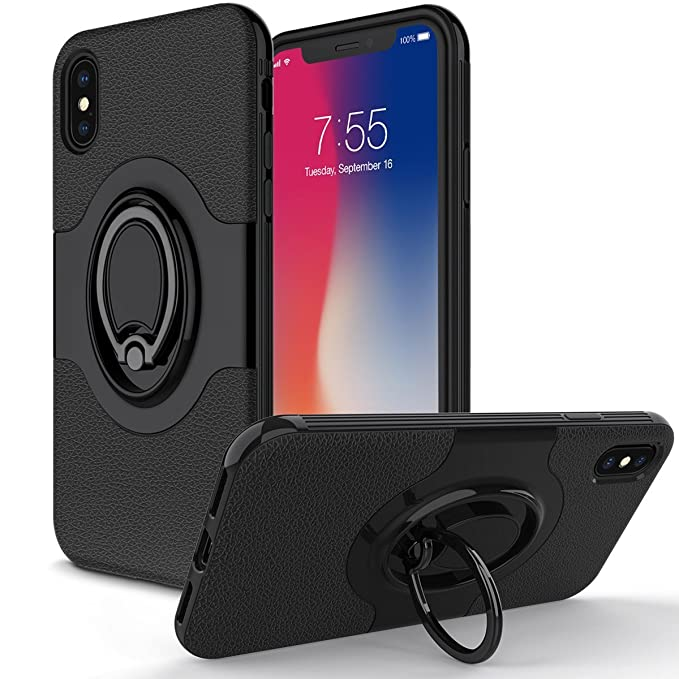 new concept 8c596 a8d12 Amazon.com: TOPOZ iPhone X Case with Ring Holder Kickstand Ring ...