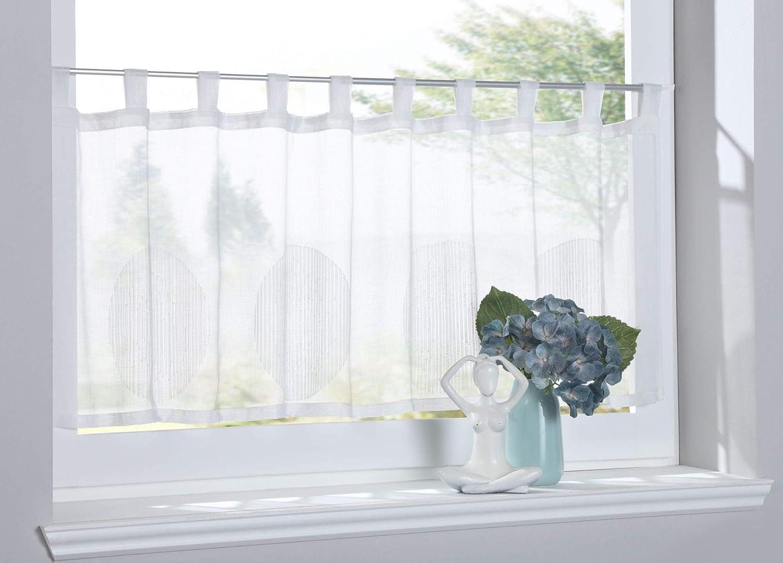 Scheibengardine Afyon Modern Zeitlos Voile Jacuard HxB 45x140 cm Blau