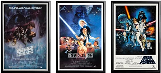 Amazon Com Star Wars Original Trilogy Classics Posters Framed Black 3 Full Size Framed Posters Size Each 24x36 Posters Prints