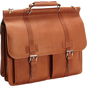 "039505fed63 Kenneth Cole Reaction Colombian Leather Dual Compartment Flapover 15""  Laptop Dowelrod Portfolio, ..."