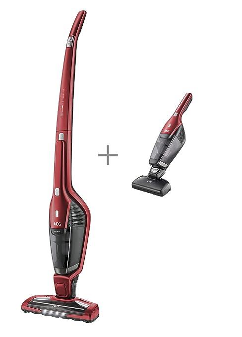 AEG CX7-2-45AN Aspiradora Escoba Vertical Sin Cable y de Mano Esp, 18 W, 0.5 litros, 79 Decibelios, 2 Velocidades, Rojo