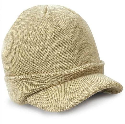 34fb654a69b Sunfei Esco Peaked Army Beanie Hat Warm Wooly Winter Mens Ladies Cadet Ski  Cap (Beige