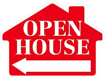 Amazon.com : OPEN HOUSE Sign with Arrow - House Shape Corrugated ...
