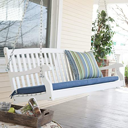 Patio Swing for Two Persons Wood Durable White Finish Coral Coast Pleasant Bay All Weather Curved Back Porch 4 Ft Outdoor Seating