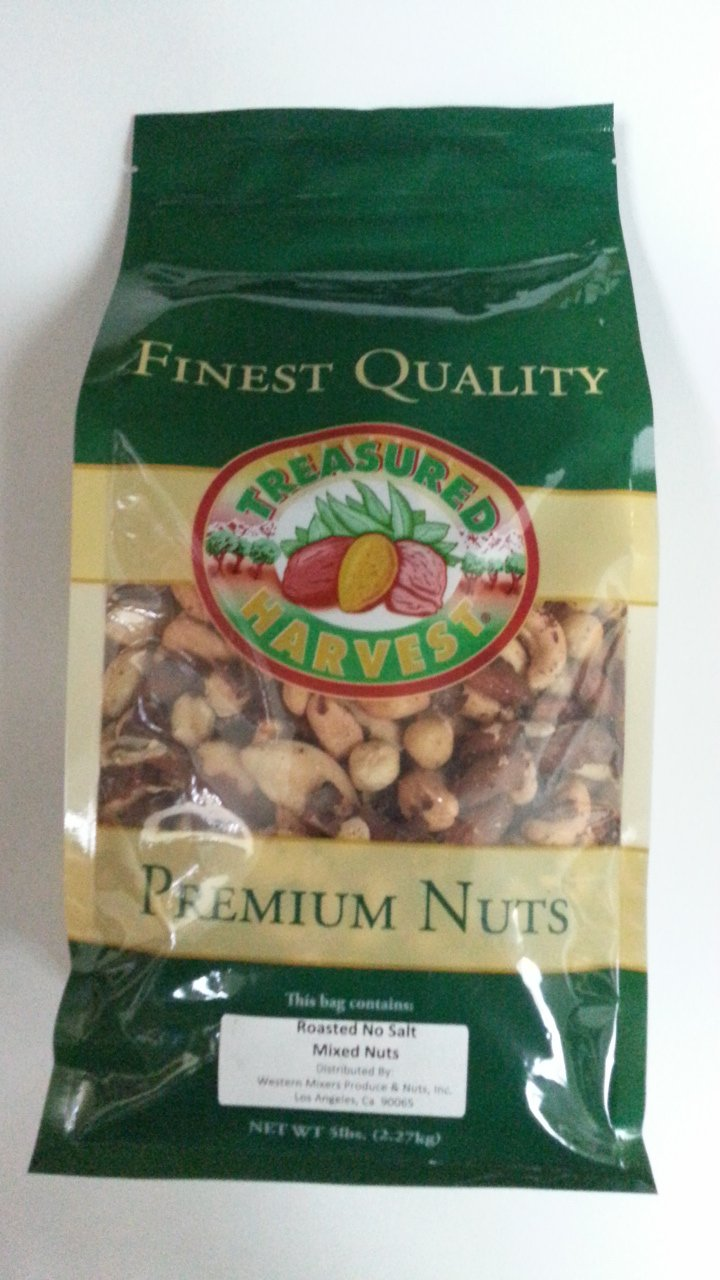 Deluxe Roasted Mixed Nuts -No Peanuts- No Salt -5 lb.