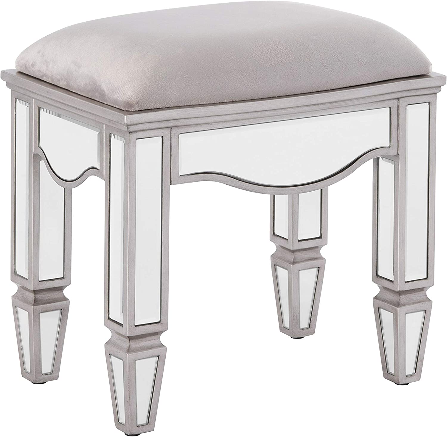 Depth 32 cm Height 45.5 cm Mirrored Bedroom Furniture Happy Beds Elysee Silver Dressing Table Stool Width 45 cm