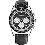 Keller & Weber Leather Mens Quartz Watches Chronograph Date Display Resistant Business Wristwatch