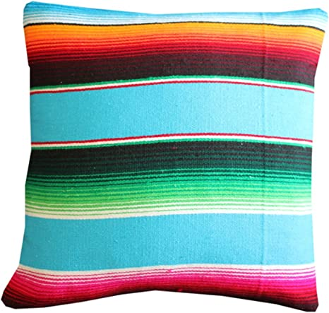 Amazon Com Del Mex Serape Throw Pillow Cover 18 X 18 Mexican Blanket Style No Fringe Turquoise Home Kitchen