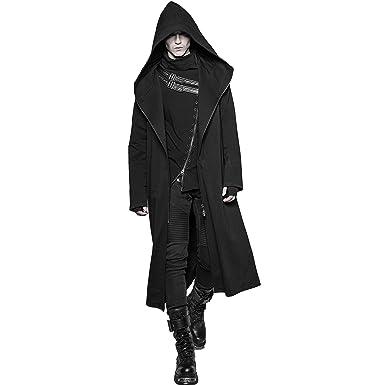 Punk Rave Men Black Winter Gothic Punk Dark Long Hooded Casual Coat Zipper  Jacket