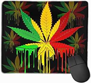 Mouse Pad Customized Marijuana Leaf Rasta Colors Mousepad Non-Slip Rubber Base Mouse Pads for Computers Laptop Office Desk Accessories Personalized Mouse Pad