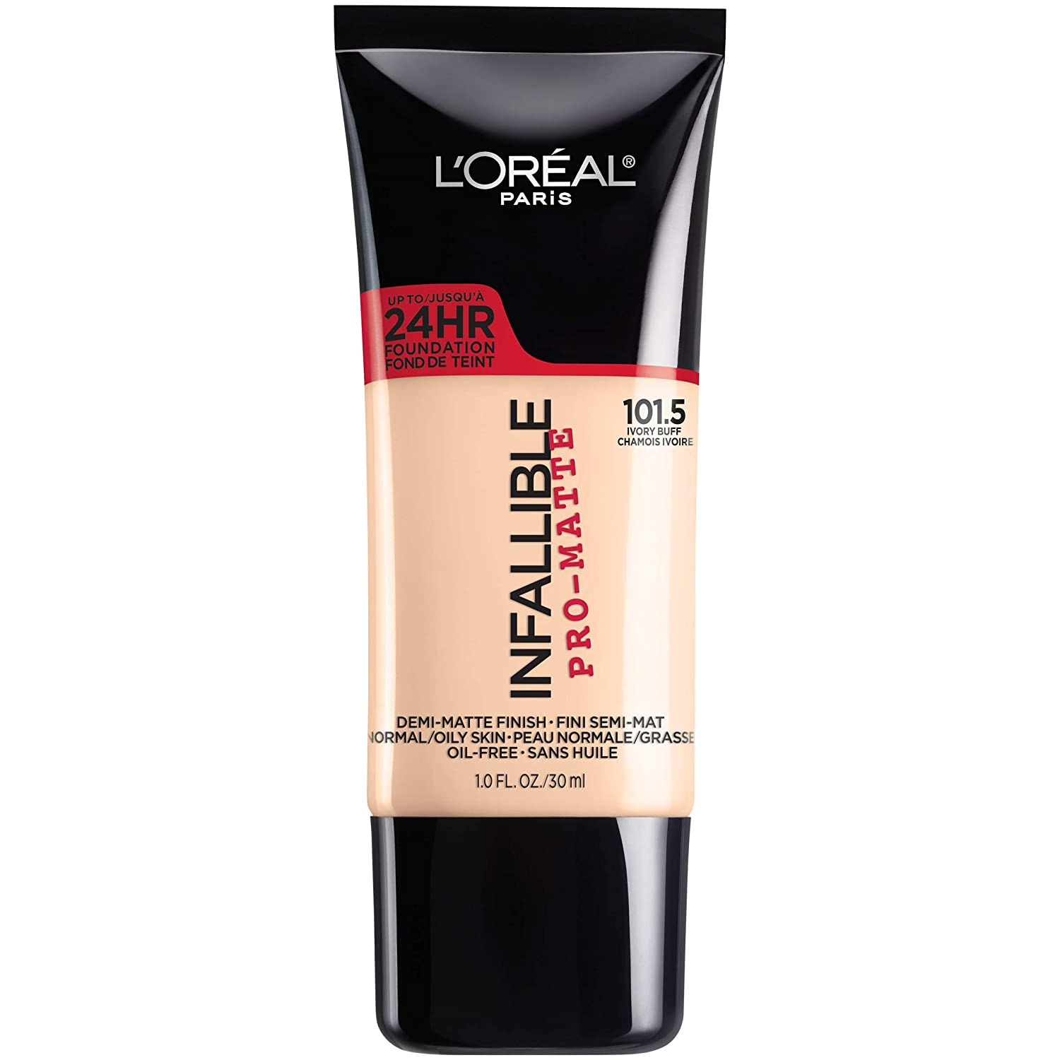 L'Oreal Paris Makeup Infallible Pro-Matte Liquid Longwear Foundation, Ivory Buff 101.5, 1 fl. oz.