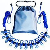 Retractable Clothesline by Nasdom Portable Travel Adjustable Clothes Line Rope with 1 Drawstring Bag, 12 Clothespins, 13 Anti-skid Clips for Outdoor and Indoor (Blue)