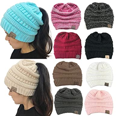 16f82f4cd33ff The Chic Shak Boutique Messy Bun CC Beanies at Amazon Women s ...