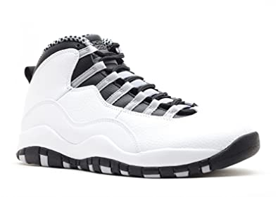new concept 49231 1de3a Jordan Mens Retro 10 White Black-Light Steel Grey-Varsity Red 310805-