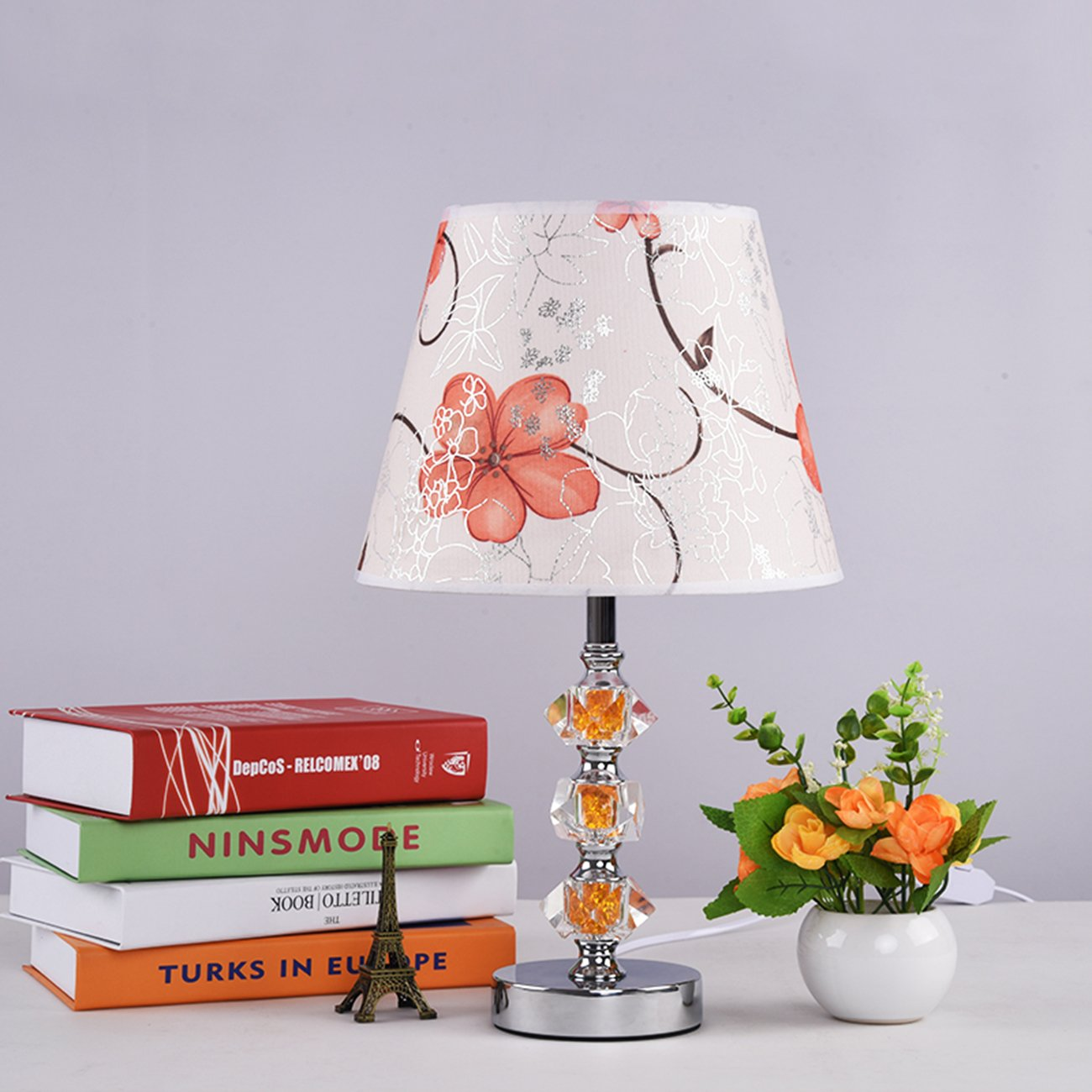 Garwarm Crystal Flower Table Lamps For Living Room Bedroom,2543CM/1017 Inch WH