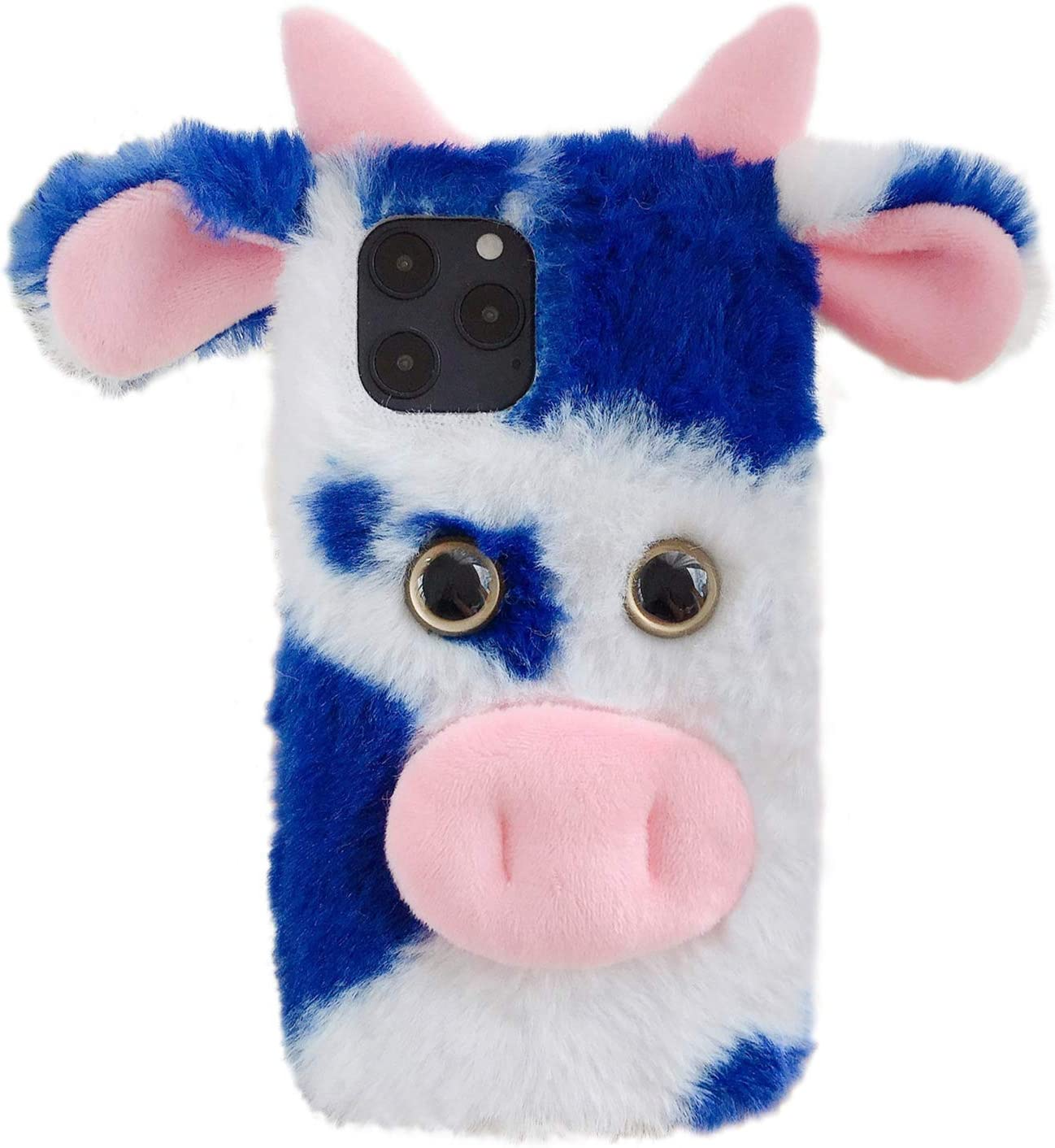Red, 12 Pro Max HikerClub Compatible with iPhone 12 Pro Max Plush Case Cute Dairy Cow Soft Fluffy Fur Handmade Winter Warm Case for Girls Women