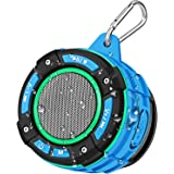 BassPal IPX7 Waterproof Bluetooth Shower Speaker, Portable Bluetooth Speaker with Loud HD Sound, LED Light Show, FM Radio, Su