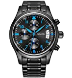 SONGDU Herren Schwarze Military Chronograph Casual Quarz - Uhr Coole Blaue Hand Edelstahl - Armband