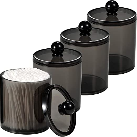 SheeChung 4 Pack Plastic Acrylic Bathroom Vanity Countertop Canister Jars with Storage Lid, Apothecary Jars Qtip Holder Makeup Organizer for Cotton Balls,Swabs,Pads,Bath Salts (Black, 15 Oz)