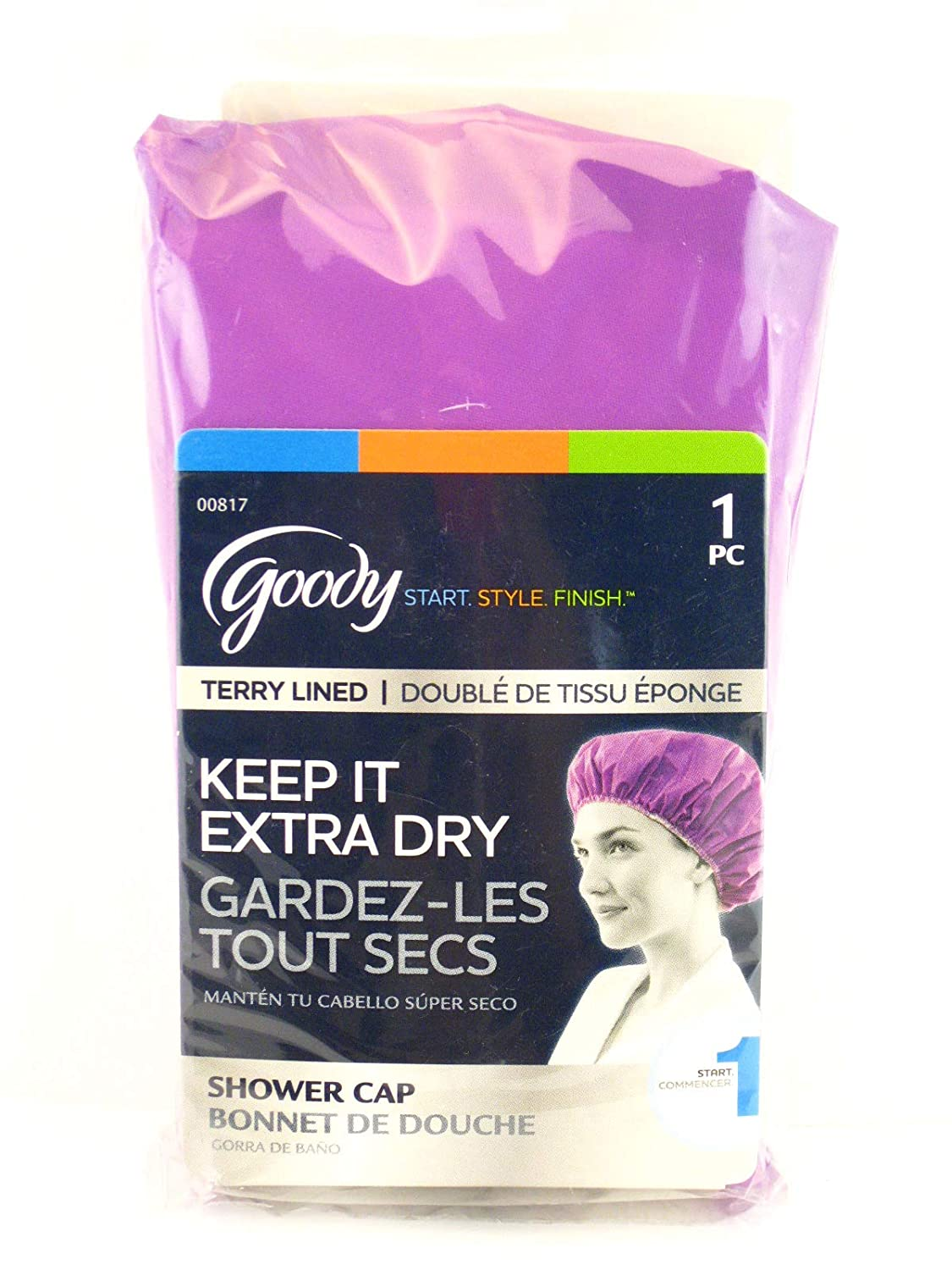 Goody Terry Lined Shower Cap Bonnet  Pink 1 Ct