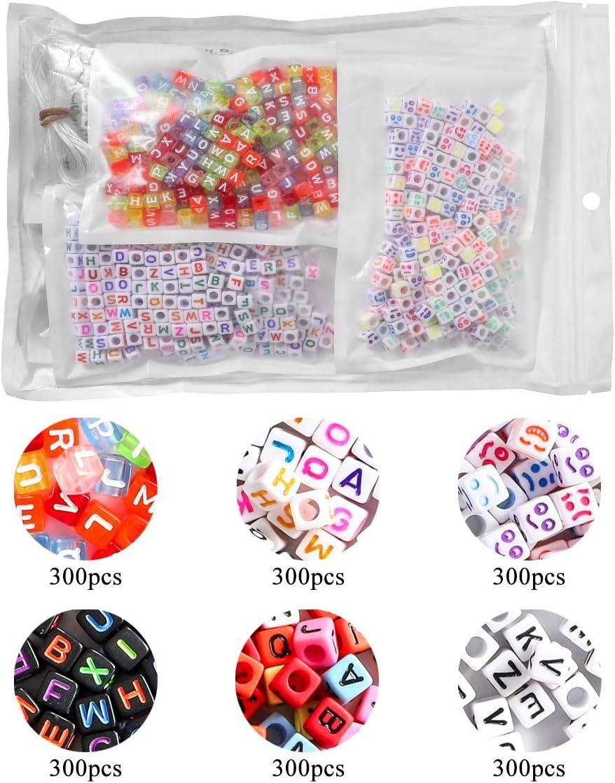 1100 1100 PCS Perles Lettres en Acrylique Alphabet Perles Lettre 15 Styles A-Z Cube Perles Color/é Bricolage pour la Fabrication de Bijoux DIY Collier Bracelet Colliers Accessoire