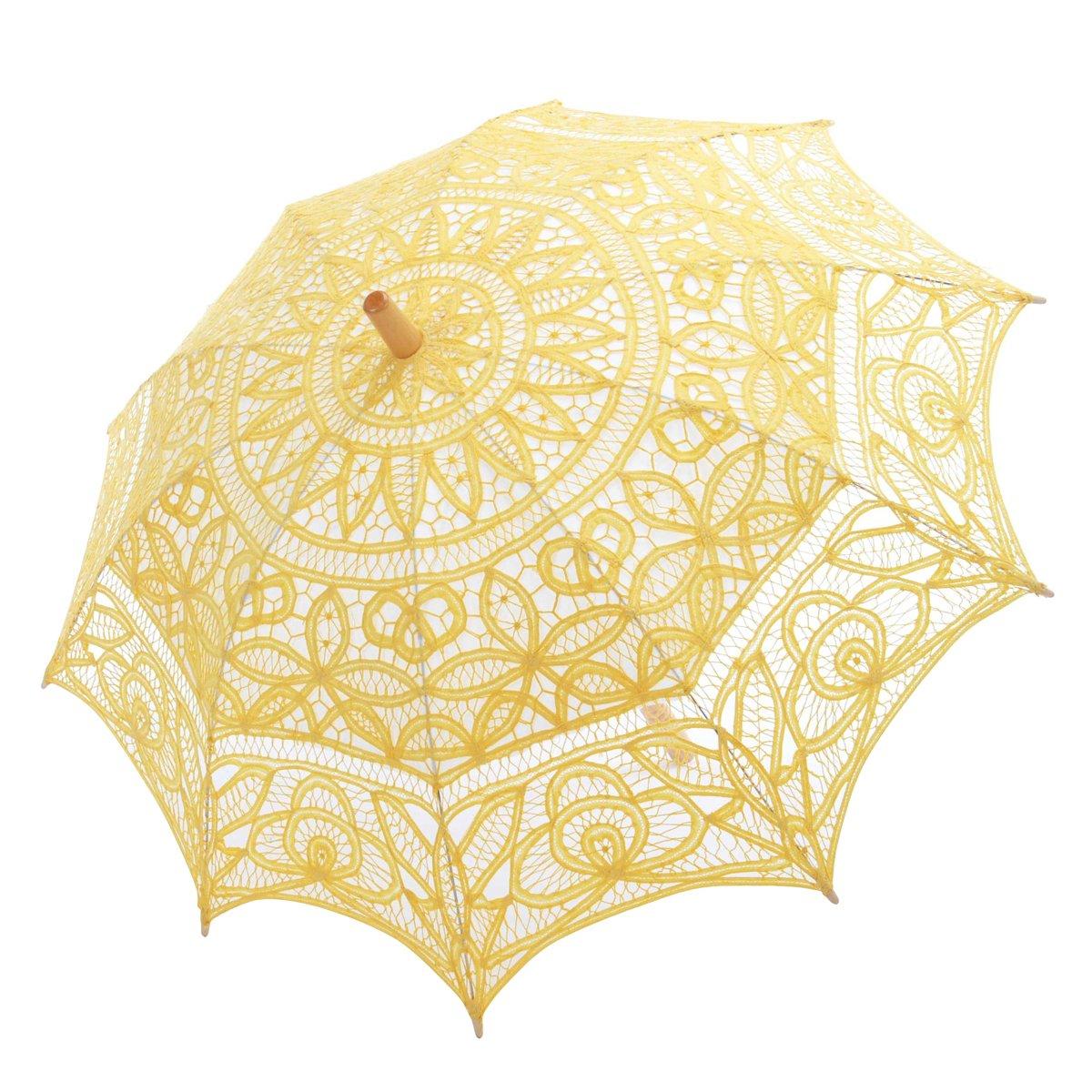 Topwedding Battenburg Lace Outdoor Wedding Parasol Bridal Shower Umbrella, Yellow