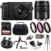 Panasonic LUMIX GX85 4K Mirrorless Kit, 12-32mm Lens w/G Vario H-FS45150AK Lens + 32GB Acc Kit (2 Lens Kit)