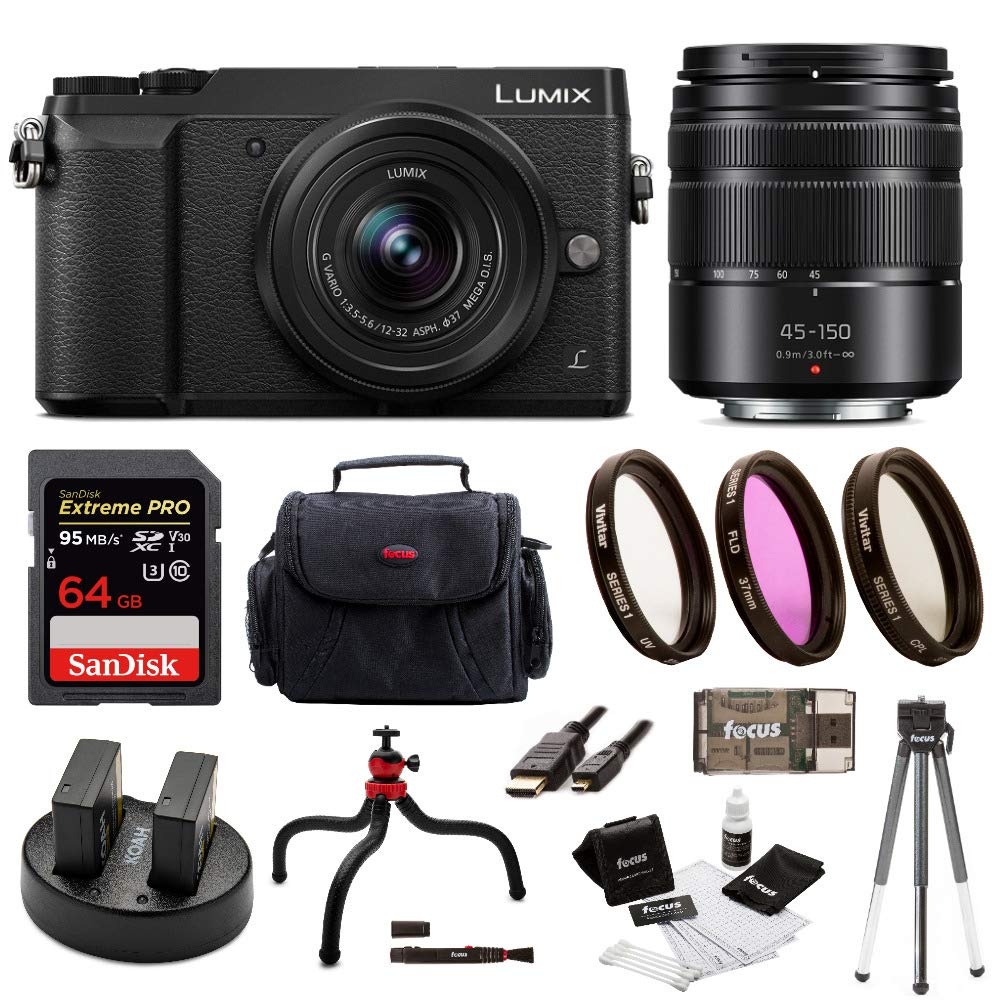 Panasonic Lumix GX85 Mirrorless Camera (Black) Bundled with 12-32mm and 45-150mm Lenses, 64GB SD Card, and Accessory Bundle by Panasonic