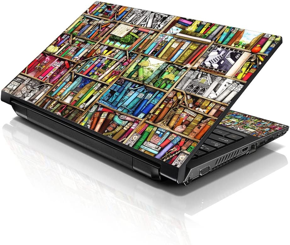 "LSS Laptop 17 17.3 Skin Cover with Colorful Books Pattern for HP Dell Lenovo Apple Asus Acer Compaq - Fits 16.5"" 17"" 17.3"" 18.4"" 19"" (2 Wrist Pads Free)"