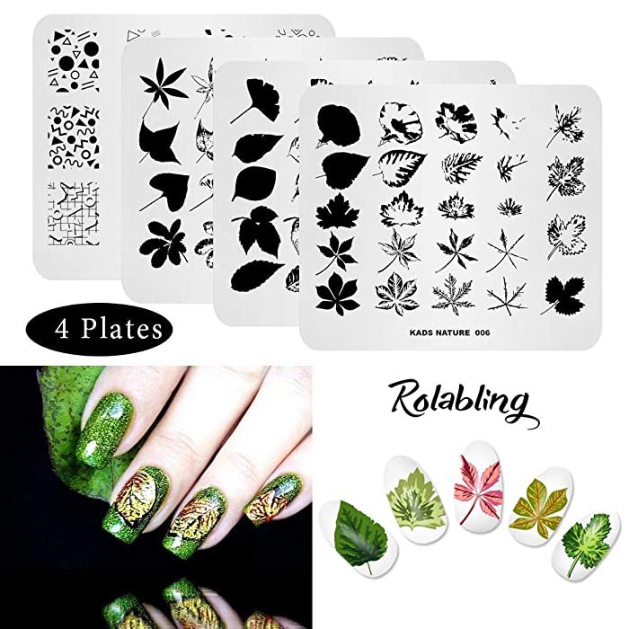 Rolabling 4 Pcs Nail Art Stamping Plate Set Spring Fall Flower Nature Series Image Plates Nail Art Polish Stamping Template Manicure Tools (010)