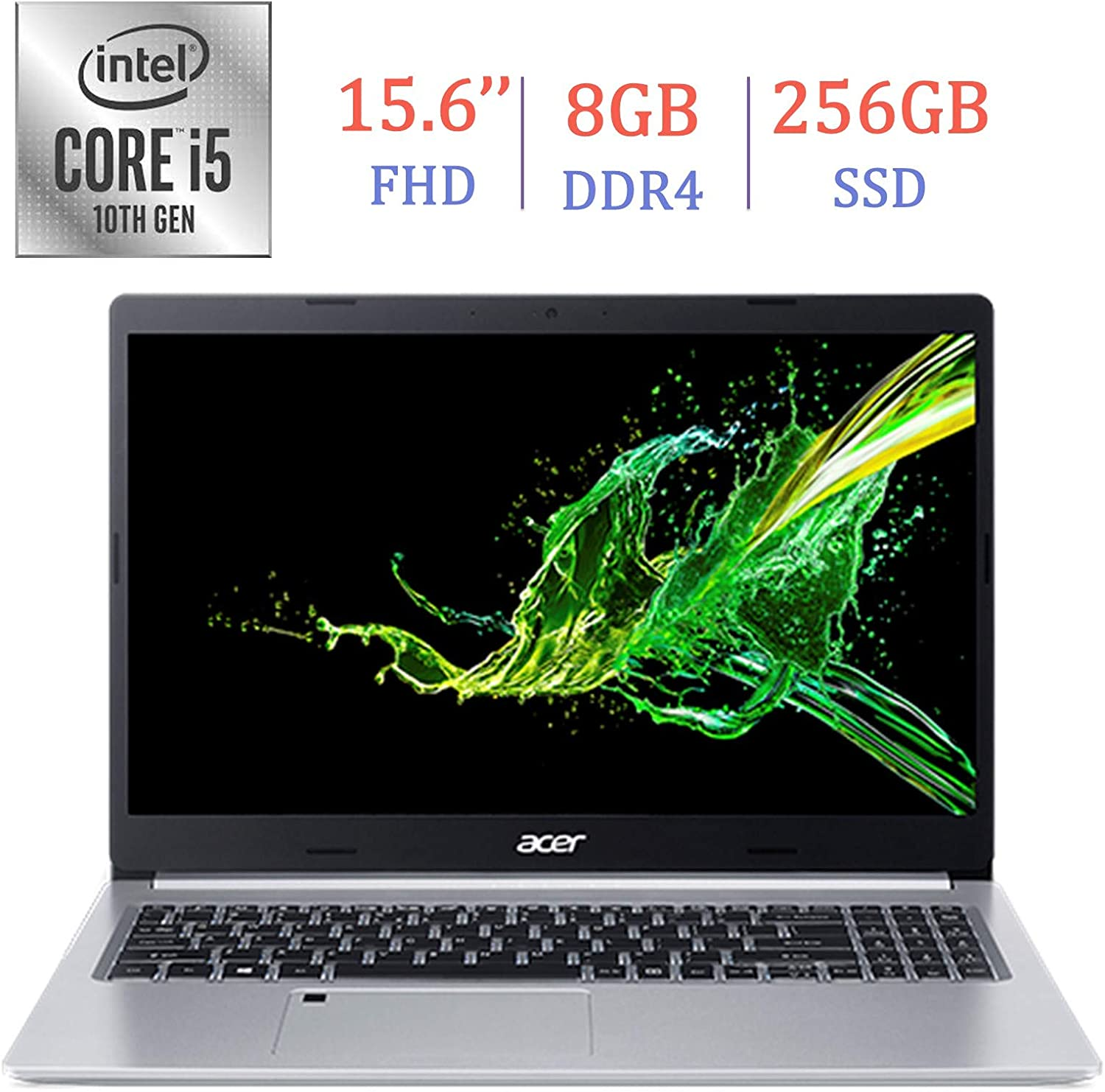 Acer Premium Aspire 5 A515 15.6-inch FHD (1920x1080) Laptop PC, 10th Gen Quad-Core Intel i5-10210U up to 4.2GHz, 8GB DDR4, 256GB SSD, Stereo Speakers, Intel UHD Graphics 620, Windows 10 Home