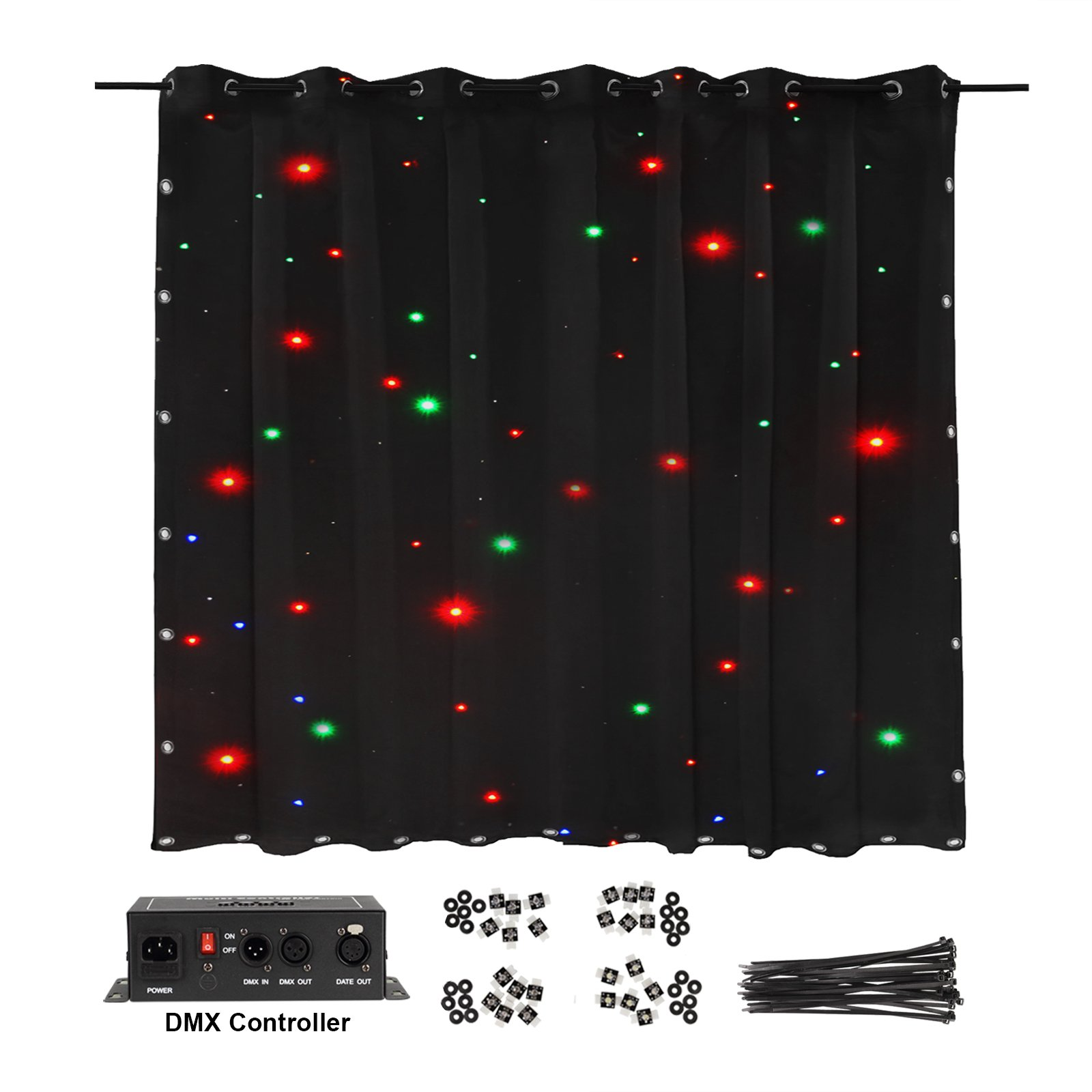 LED Stage Drape Star Cloth 2x3m Curtain Backdrop Background Screen Flame Retarded DMX Controller Lighting for Wedding Christmas Party Club Show