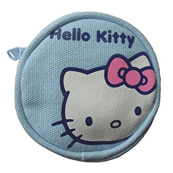 Monedero Redondo Hello Kitty Face de Sanrio Color Azul Claro: Amazon.es: Equipaje