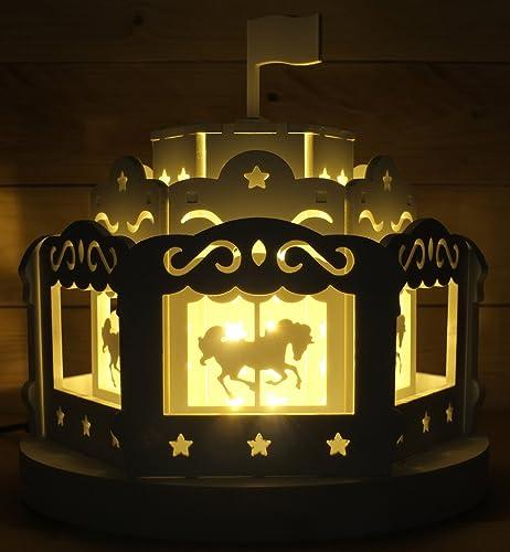 Amazing Room Decoration Lighting Carousel Night Light : Table Desk Lamp   12V Warm  White   Gifts