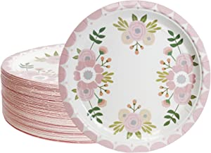 80 Pack of Floral Paper Plates for Flower Party Supplies (9 Inches)