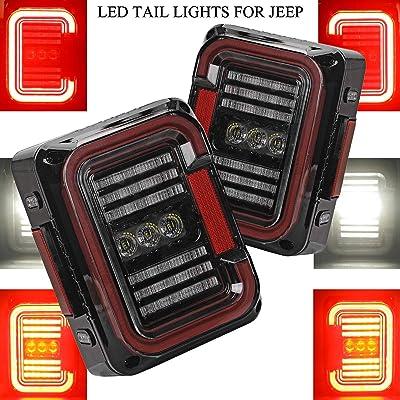 """AUDEXEN LED Tail Lights for Jeep Wrangler JK JKU 2007-2020, Unique""""C"""" Shaped Design Clear Lens, 20W Reverse Lights, Built-in EMC, DOT Compliant, 2 PCS: Automotive"""