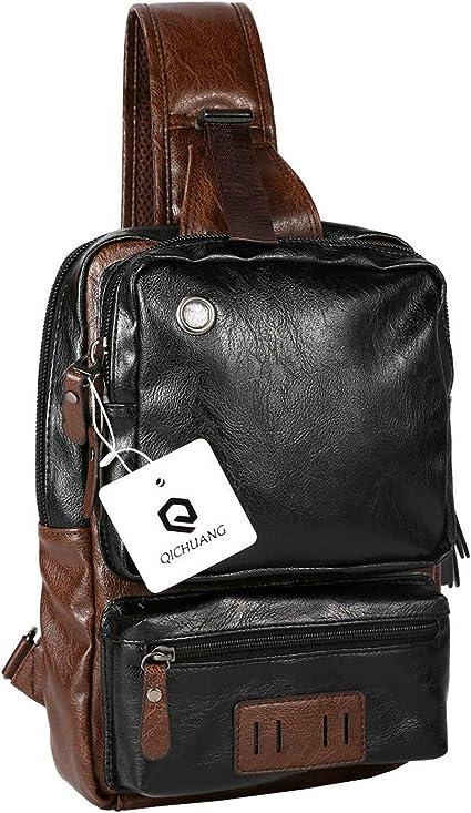 Port  #@ Mens Sling Shoulder PU Leather Outdoor Casual  Crossbody Bag