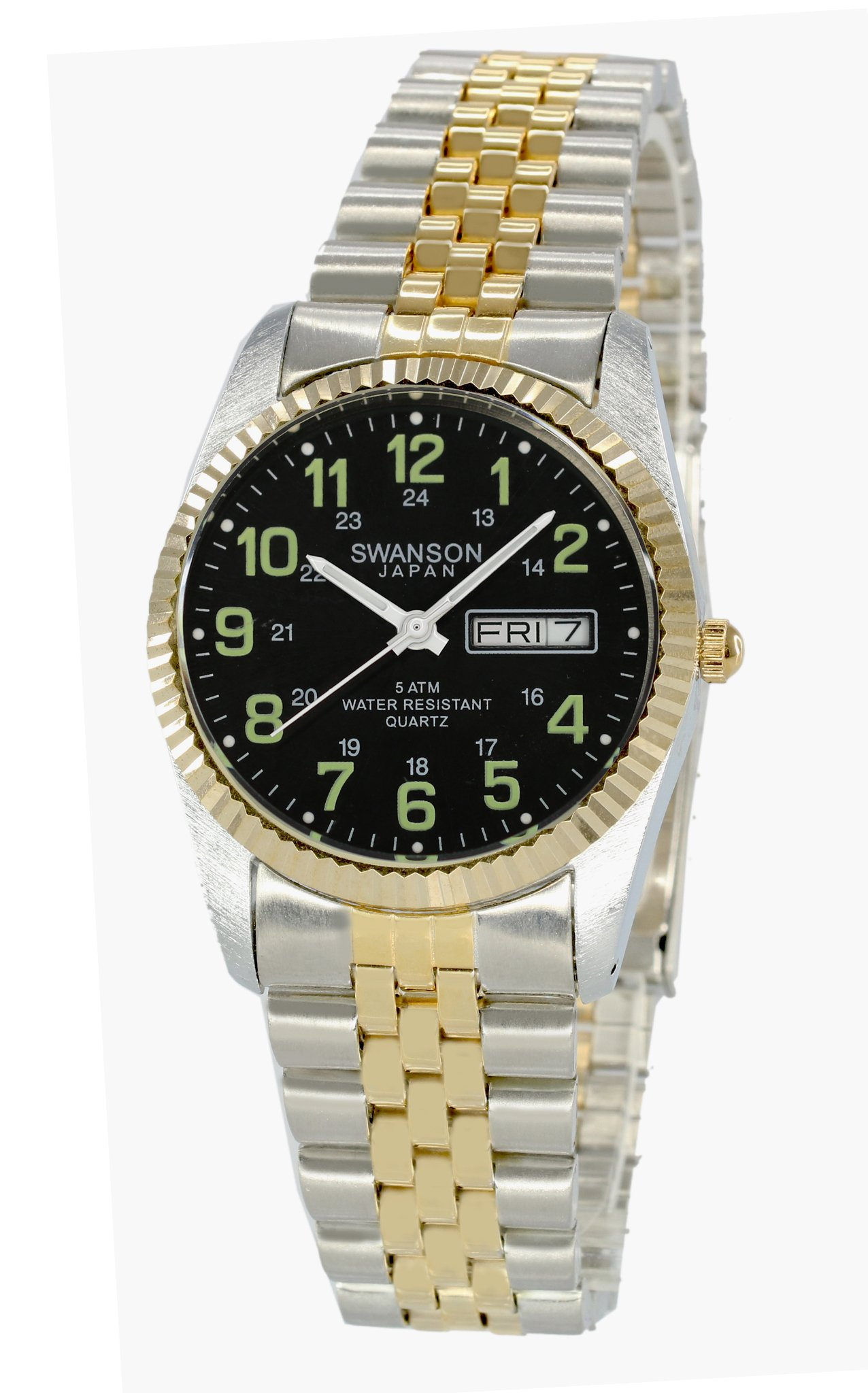 Swanson Japan Men's Two-Tone Day-Date Black Dial with Glow Military Numbers Watch within Travel Case