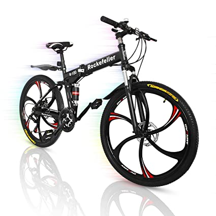 "6800430ba97 Superday Mountain Bike 21 Speed Black 26"" High-Carbon Steel Foldable  Double Disc Brake"