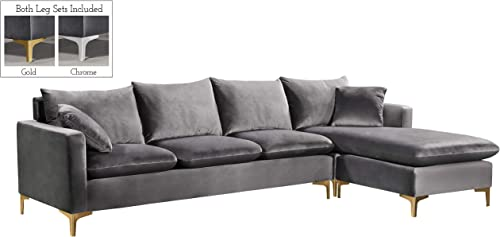 Meridian Furniture Naomi Collection Modern Contemporary Velvet Upholstered REVERSIBLE Sectional with Rich Gold or Chrome Legs, Grey, 110 W x 66 D x 30 H