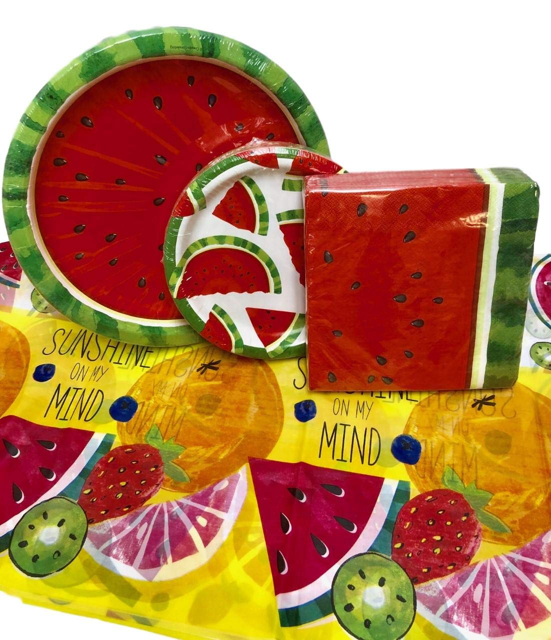 105 Piece Watermelon Picnic Party Supplies Disposable Paper Plates, Napkins, Tablecloth Spring, Summer, Memorial July Bundle (Yellow)