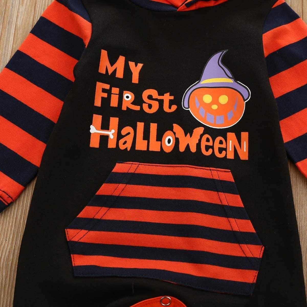 oklady My First Halloween Outfit Infant Baby Boy Girl Halloween Hoodie Romper Stripe Pocket Jumpsuit Bodysuit
