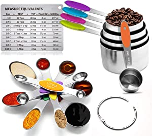 Sunnyac 12 Pieces Measuring Cups and Spoons Set, Including 5 Stackable Stainless Steel Measuring Cups, 6 Double Sided Magnetic Measuring Spoons and 1 Metal Plate for Dry and Liquid Ingredients
